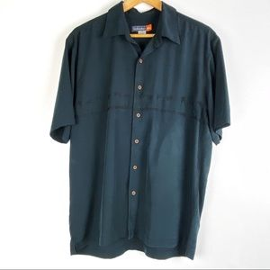 QUIKSILVER shirt Medium black palm embroidery t302